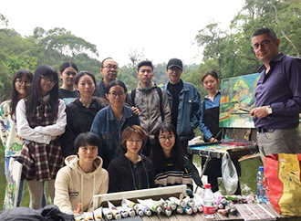 mark Sagona with students of Art College of Xiamen University, China