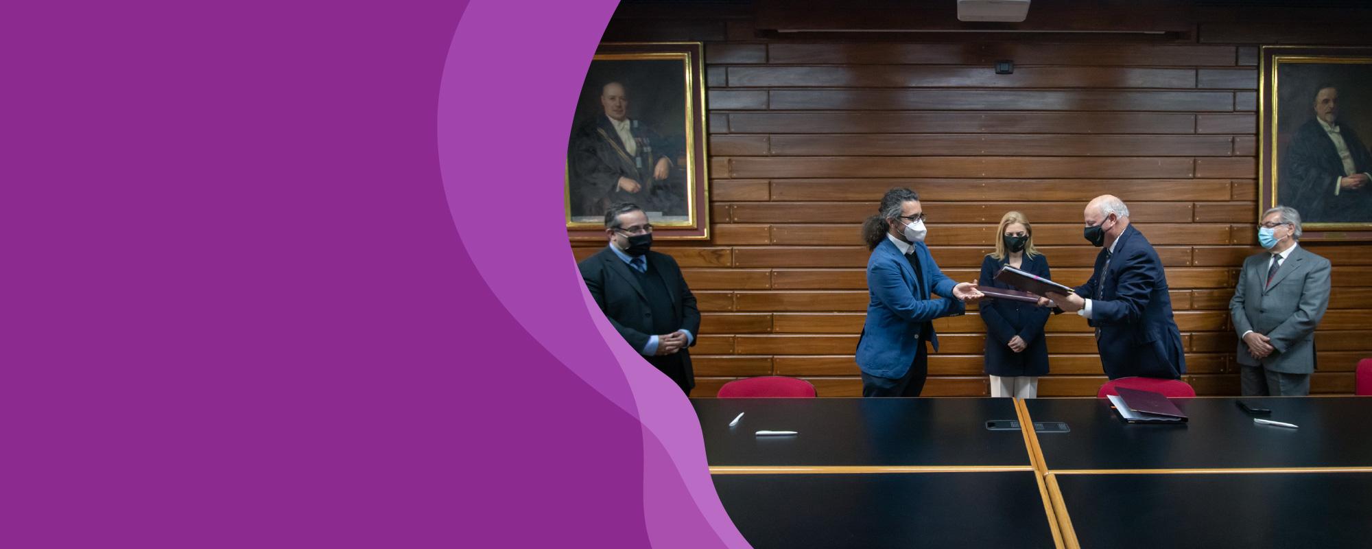 Dr Ivan Sammut, Dr JP. Baldacchino, Prof. Alfred J. Vella, Perit Karmenu Vella in Council Room