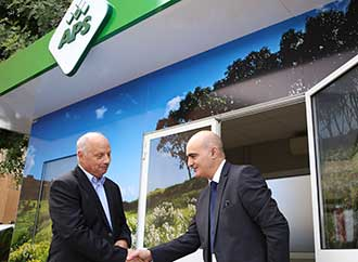 Professor Alfred J. Vella, Rector and Marcel Cassar, APS Bank CEO launching the 'Green Space'