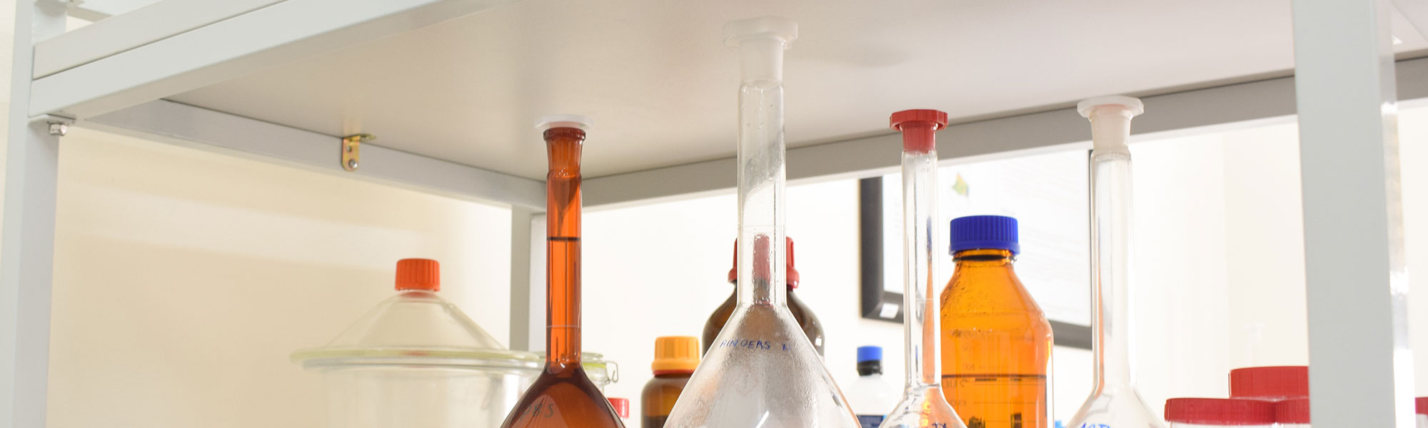 Flasks in lab