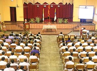 Rev. Prof. E. Agius delivering lecture