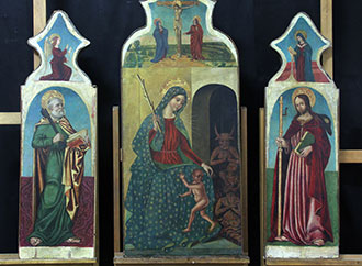Painting - Antonio de Saliba's triptych of the Madonna Del Soccorso