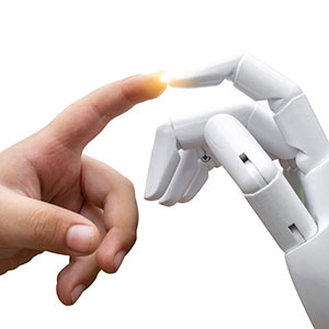 Human hand and robotic hand