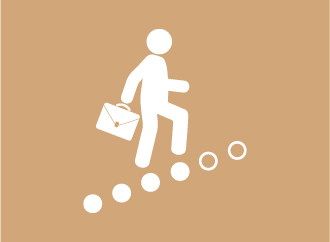 Person going up the stairs with a suitcase, on a brown background