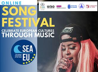 A singer - Online SEA-EU Song Festival - logos of the six partner universities of the SEA-EU alliance