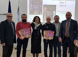 Prof Yosanne Vella new History Teachers' Association President with the authors of the new Maltese History textbook for years 7 and 8