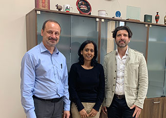 Dr Verene Tandrayen-Ragoobur (centre) at her meeting with Prof. Godfrey Baldacchino (Pro-Rector for International Development & Quality Assurance), accompanied by Dr Stefano Moncada