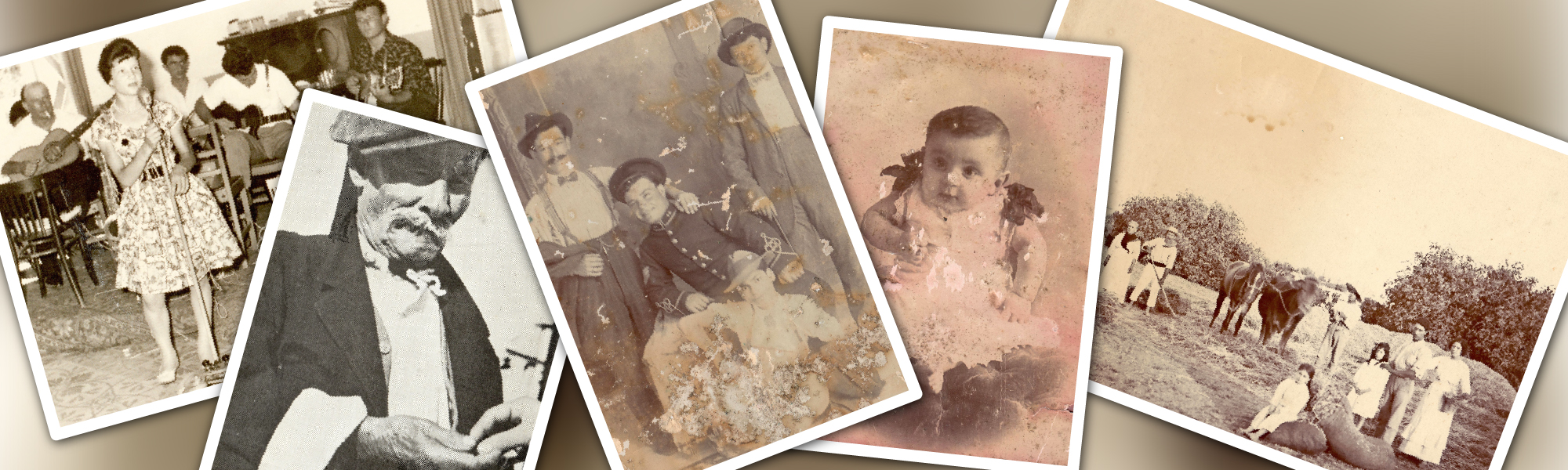 Five antique photos with people on them
