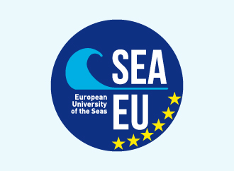 SEA EU European University of the Seas on a blue cirle with a graphic representing a wave (cyan) and 6 yellow stars