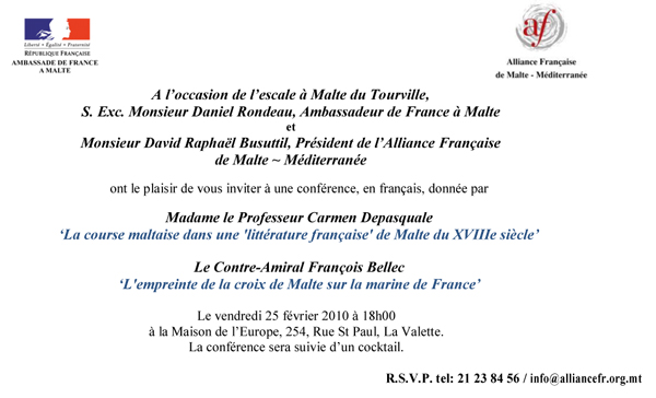 Invitation to two lectures in french 25 feb university of malta tourville stopboris Gallery