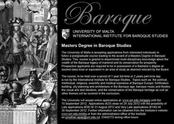 Master of Arts in Baroque Studies
