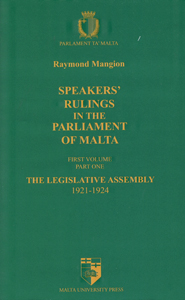 Speakers' Rulings in the Parliament of Malta