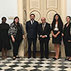 Group photo - MA Conflict Resolution and Mediterranean Security students and Dr Omar Grech with HE Dr George Vella