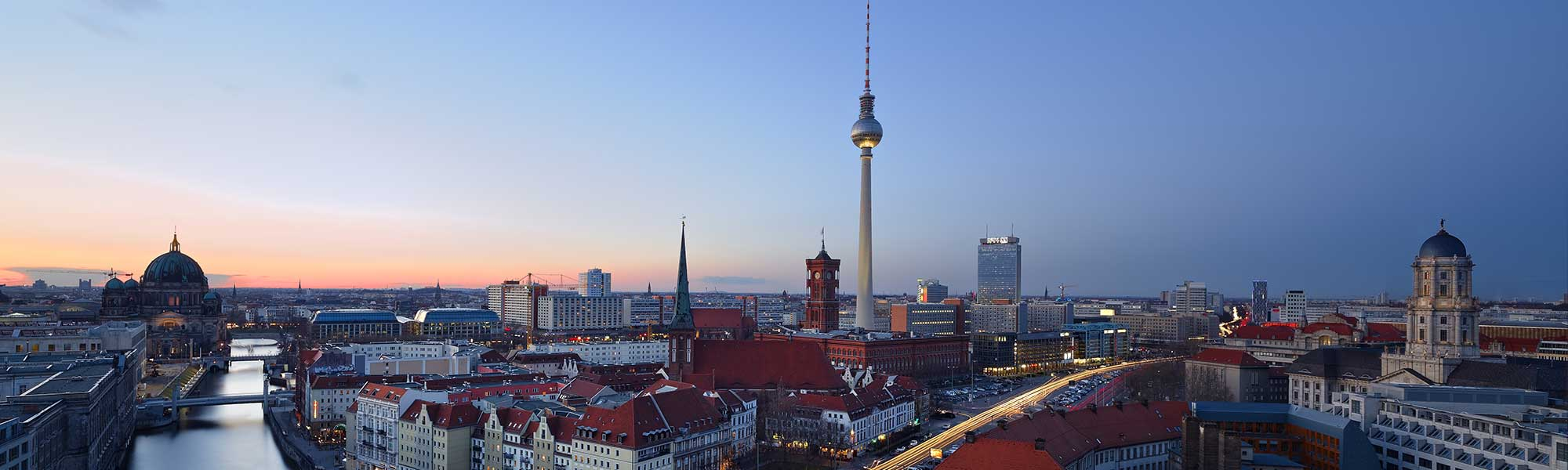 Germany - Berlin - Skyline - Alexander Platz & The Dome - Clean Sunset