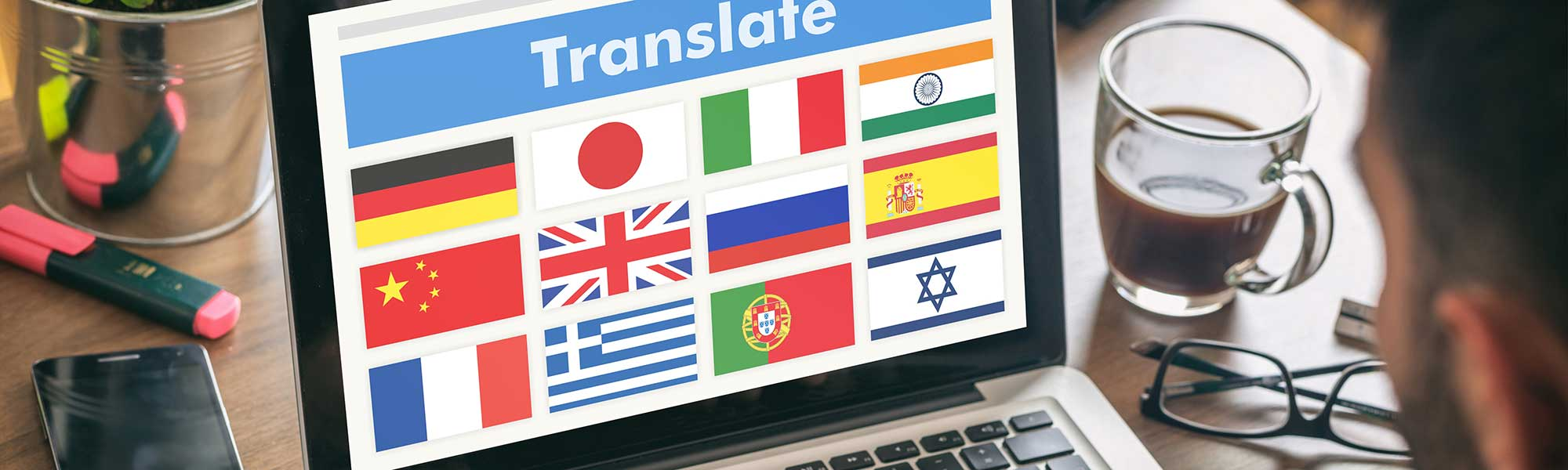 Online language translation, man working