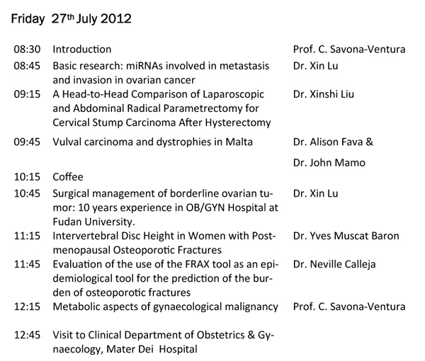 Joint Sino-Maltese Academic Meeting in Obstetrics and Gynaecology