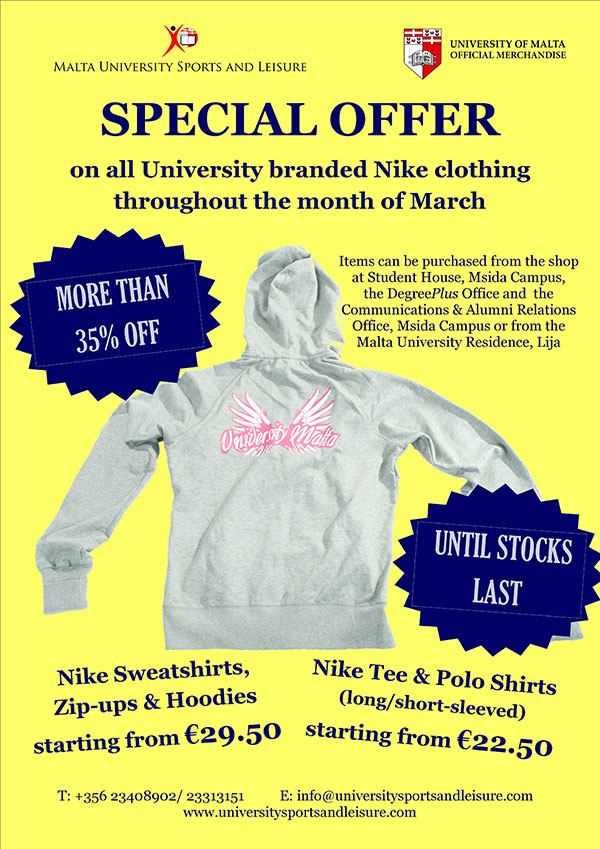 a717fe53cd75 on all University branded Nike clothing throughout the month of March more  than 35% off (until stocks last)