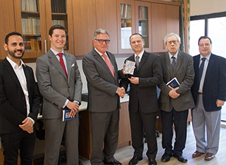 HE, Spanish Ambassador Don José Pons presents work by Cervantes to the Department of Maltese