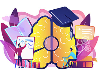 Brain with magnifier, academic cap and user learning
