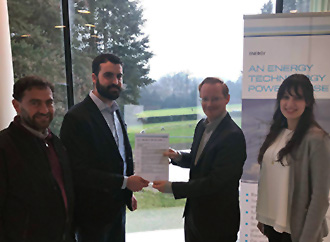 Dr Inġ. Daniel Buhagiar receiving the Statement of Feasibility from Dr Koen Broess, Business Lead Energy Storage at the DNV GL Energy department in Arnhem, The Netherlands