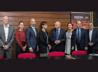 LifeCycle Chairperson Dr Shirley Cefai presented the donation to Prof Alfred Vella. From left Alan Curry, Nestlé Senior Category Manager Charlene Ellul, Alfred J. Borg, Prof Jean Calleja Agius, Prof Emanuel Farrugia and RIDT's CEO Wilfred Kenely.