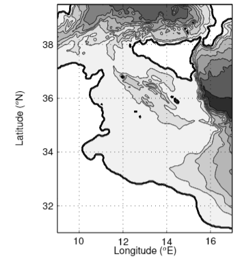 Model domain and bathymetry