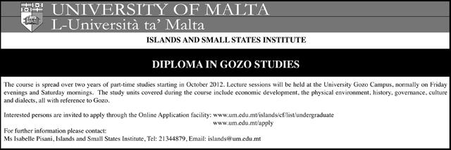 Diploma in Gozo Studies