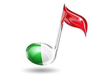 musical note with colours of Italian flag