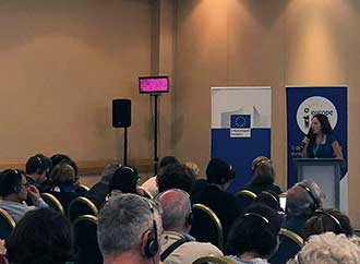 Speaker addressing audience at the Second Cross-border Dialogue between Malta and Italy