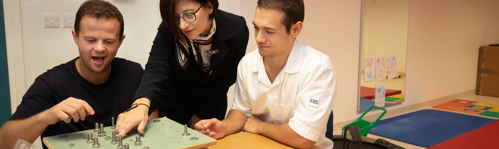 Patient during an occupational therapy session