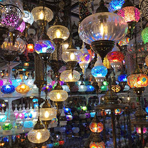 colourful hanging lamps