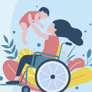 Parent in wheelchair holding a child