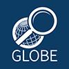A white globe on a blue background; Globe