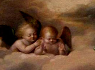 Religious painting with angels