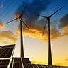 solar panels, wind turbines, electricity pylon