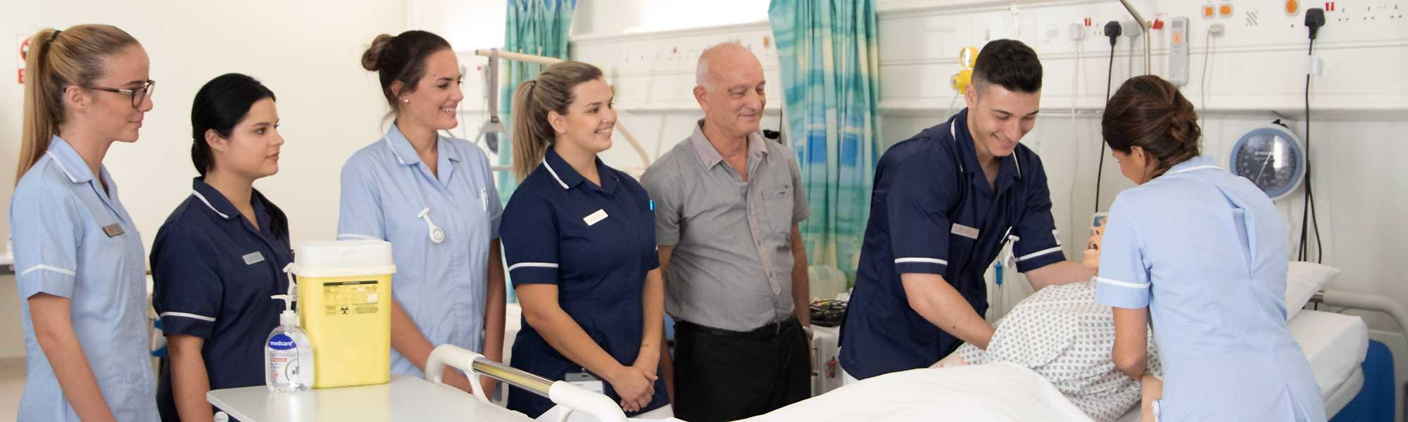 Student nurses in hospital