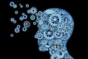 human head shape with gears and cogs representing the concept of intellectual property being transferred and shared with others