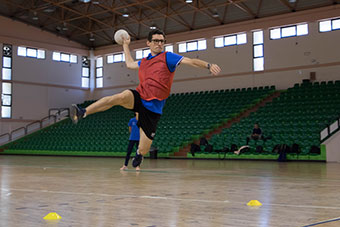 Player in sports hall