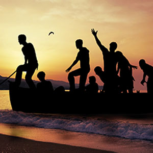People on a boat at sea
