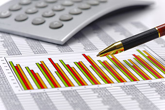 Graphics, financial tables, pen and calculator