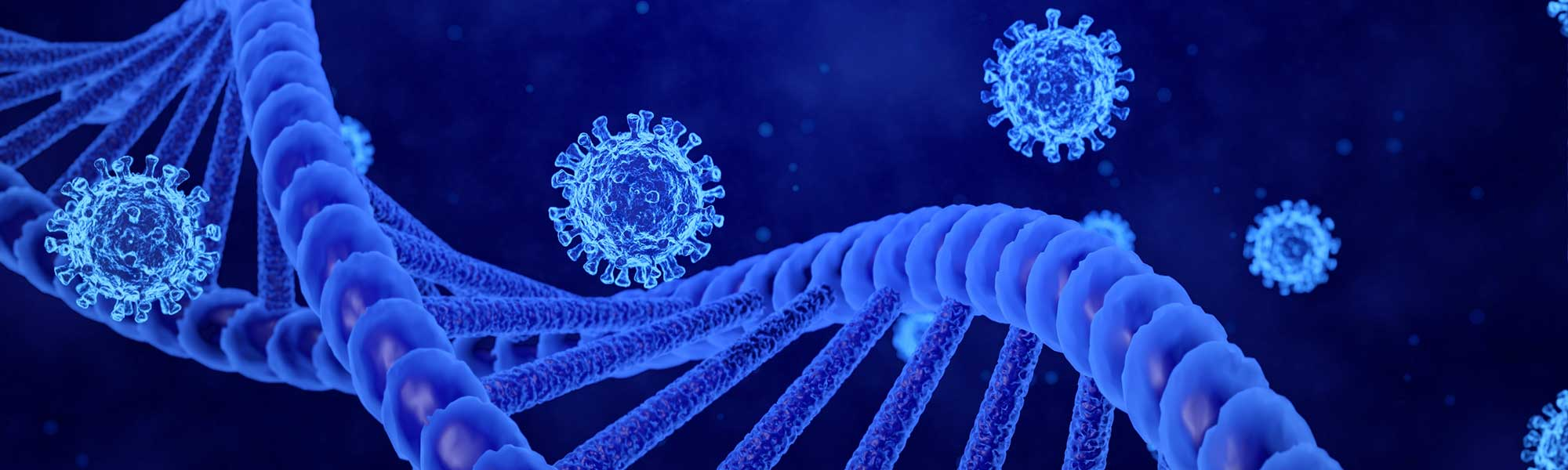 3D rendering COVID-19 and DNA helix models moving in abstract blue background