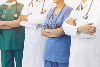 Medical people - doctors, nurse, physician and surgeon team in hospital.