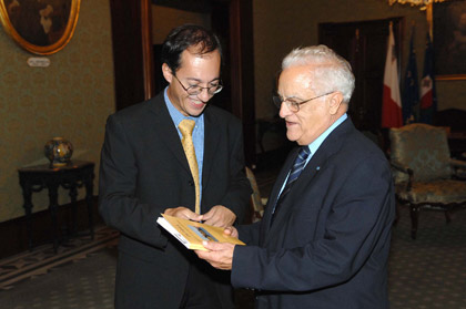 David Mifsud presents book to President