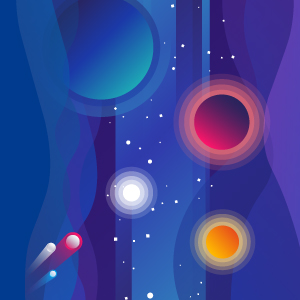Graphic depicting the cosmos