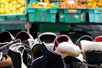 Shoes stall and vegetables stall at the market