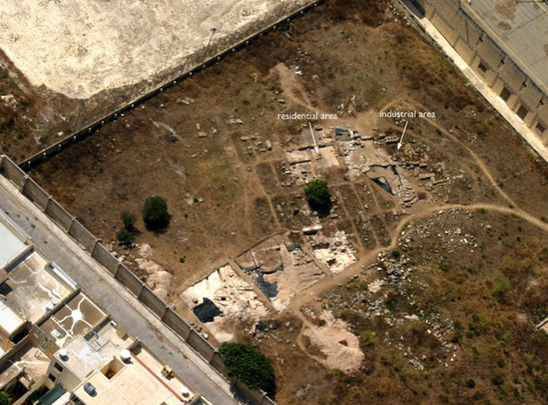 Aerial photograph of the remains of the Roman villa inside the grounds of the secondary school, St Thomas More College in Żejtun