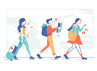 students travelling