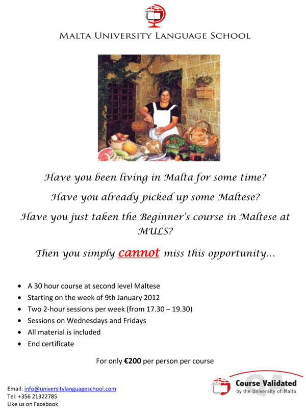 Maltese Language, Learn Maltese Online | Malta Travel ...