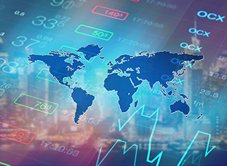Economy background with abstract stock market graph, tickers, financial data and blue world map