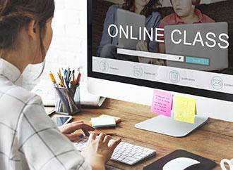 Student attending a class online